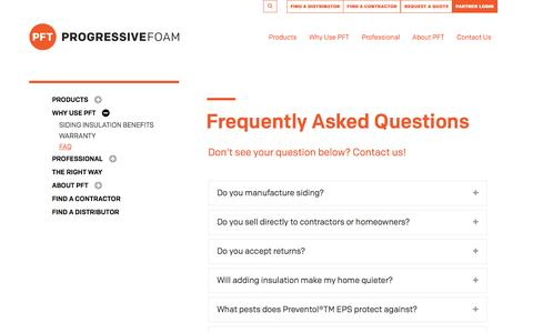 Screenshot of FAQ Page progressivefoam.com - Frequently Asked Questions | Progressive Foam Technologies - captured Nov. 13, 2016