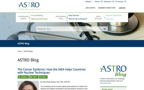 Screenshot of Blog astro.org - ASTRO Blog- American Society for Radiation Oncology (ASTRO) - American Society for Radiation Oncology (ASTRO) - captured Oct. 3, 2018