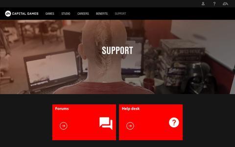 Screenshot of Support Page ea.com - Support - captured Nov. 7, 2018