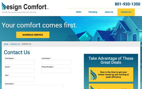 Screenshot of Contact Page designcomfortco.com - Contact Us | Design Comfort - captured Oct. 8, 2018