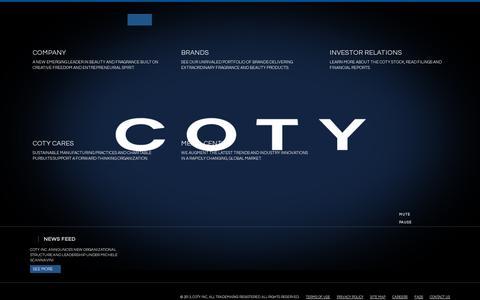 Screenshot of Home Page coty.com - Coty | A World of Beauty - captured July 12, 2014