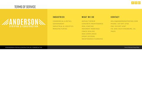 Screenshot of Terms Page andersonstriping.com - Terms Of Service | Anderson Striping - CA, UT, OR, NV, AZ, WA - captured Oct. 3, 2018