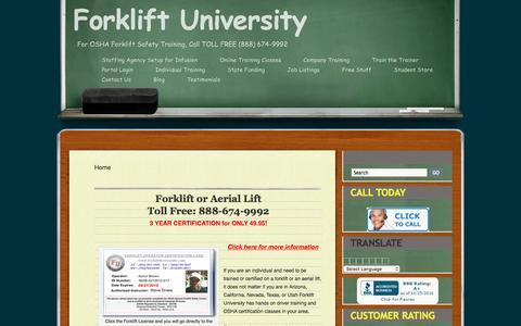 Screenshot of Home Page forkliftuniversity.com - Forklift Training, Aerial lift Training for Safe operators - captured Nov. 25, 2016