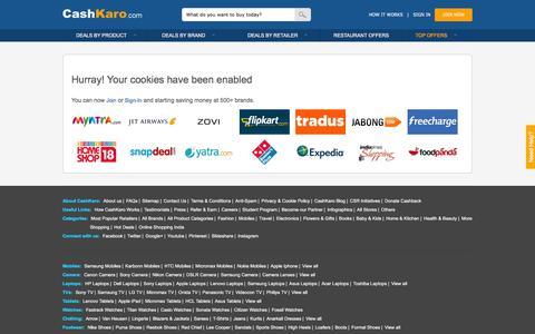 Screenshot of Login Page cashkaro.com - Discount Coupons & Extra Cashback on 500+ Sites -CashKaro - captured Dec. 3, 2015