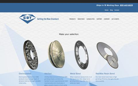Screenshot of Products Page cdtusa.net - Diamond Tool Products, Grinding Wheels — Continental Diamond Tool - captured Aug. 27, 2017