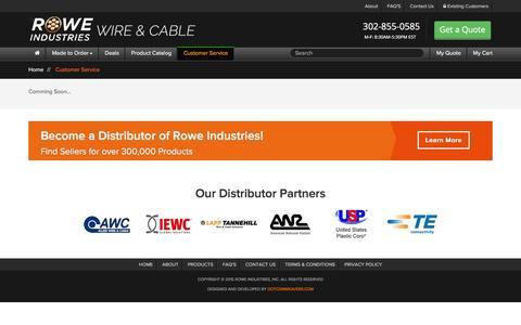 Screenshot of Support Page roweindustries.com - Customer Service - captured Jan. 11, 2016