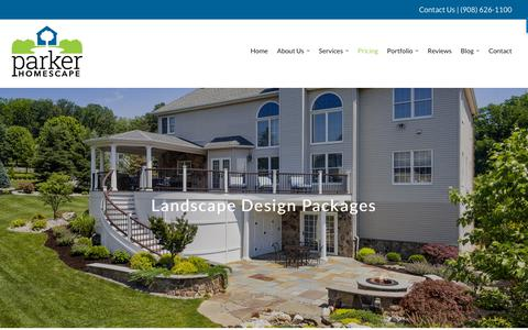 Screenshot of Pricing Page parkerhomescape.com - Landscape Design Pricing in NJ - Somerset, Hunterdon & Union County - captured Sept. 26, 2018