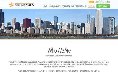 Screenshot of About Page Contact Page onlinechiro.com - Chiropractic Websites | Chiro Marketing | Chiropractor Website Design | SEO - captured Aug. 30, 2016