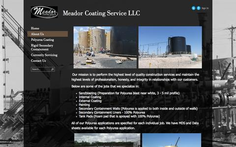 Screenshot of About Page meadorcoatingservice.com - About us - captured Oct. 27, 2014