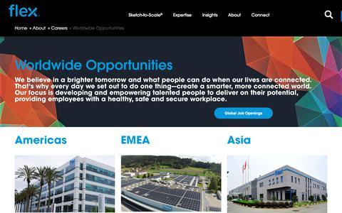 Screenshot of Jobs Page flex.com - Worldwide Career Opportunities, Global Recruitment & Employment   Flex - captured July 6, 2018