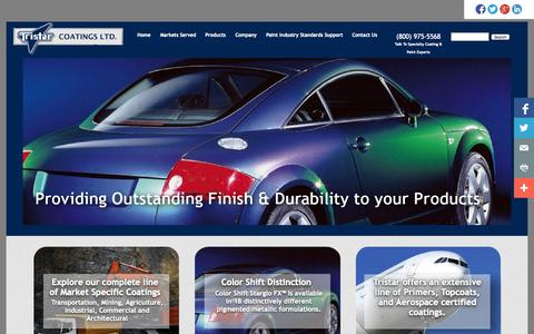 Screenshot of Home Page Products Page tristarcoatings.ca - Specialty Coatings, Paints and Primers | Tristar Coatings - captured Oct. 8, 2014