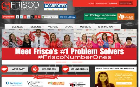 Screenshot of Home Page friscochamber.com - Frisco Chamber of Commerce - captured Nov. 25, 2016
