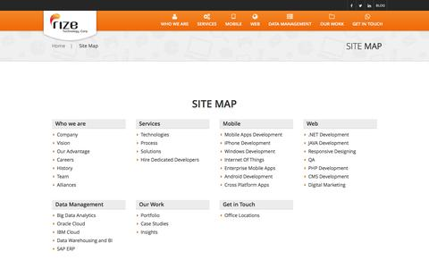 Screenshot of Site Map Page rizecorp.com - Web & Mobile Apps Development | Rize Technology - captured Jan. 15, 2016