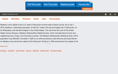Screenshot of Home Page madison-wisconsin.com - The Official Madison Guide  Home - captured Feb. 8, 2018