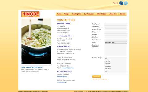 Screenshot of Contact Page hinode.us - Contact HINODE US. - captured Nov. 5, 2014