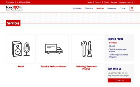 Screenshot of Services Page fordav.com - Services – Ford AV - captured Oct. 14, 2017