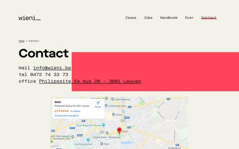 Screenshot of Contact Page wieni.be - Contact | Wieni - captured Sept. 28, 2019
