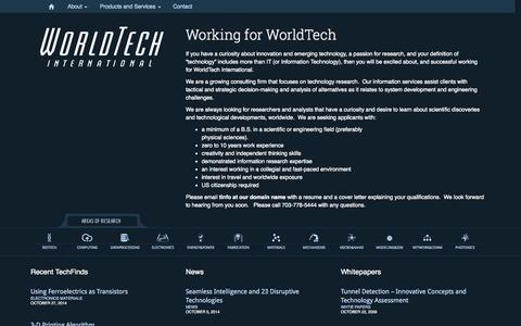 Screenshot of Jobs Page worldtech-int.com - WorldTech International   Working for WorldTech - WorldTech International - captured Nov. 3, 2014