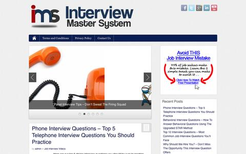 Screenshot of Blog interviewmastersystem.com - Interview Master System - Job Interview Tips Including Interview Questions and Answers - captured Oct. 6, 2014