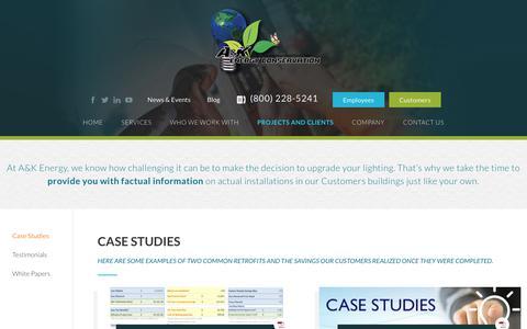 Screenshot of Case Studies Page akenergy.com - Case Studies - AK Energy - captured Sept. 17, 2017