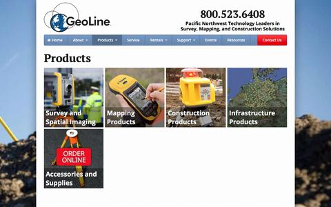 Screenshot of Products Page geoline.com - Products - Geoline, Inc. - captured July 29, 2017