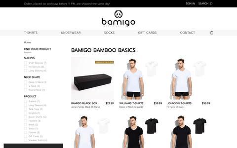 Screenshot of Products Page bamigo.com - Bamigo Bamboo Basics | Bamigo.com - captured Nov. 13, 2018