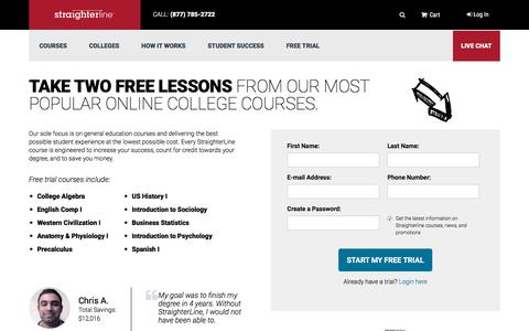 Screenshot of Trial Page straighterline.com - Try a Free Self-Paced Online College Lesson | StraighterLine - captured Dec. 4, 2015