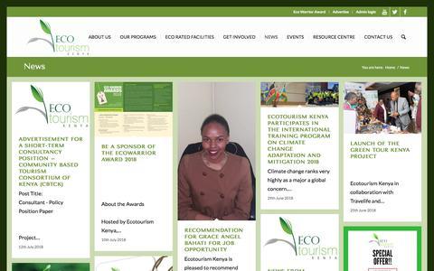 Screenshot of Press Page ecotourismkenya.org - News - Ecotourism Kenya - captured July 16, 2018