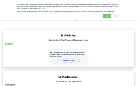 Screenshot of Login Page skuvault.com - Log In | SkuVault WMS and Support Portal Log In - captured March 1, 2019