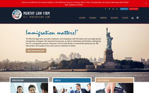 Screenshot of Home Page murthy.com - Murthy Law Firm : U.S. Immigration Law - captured March 14, 2017
