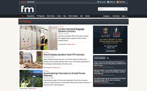 Screenshot of Press Page fmindustry.com - In Focus   FM Industry   The Facilities Management Hub - captured Feb. 23, 2020