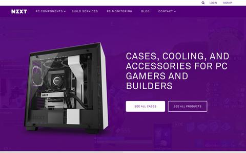 Screenshot of Home Page nzxt.com - NZXT | Gaming PC Hardware - Computer Cases, Liquid Cooling, Fan Control and PC Monitoring - captured Oct. 18, 2018