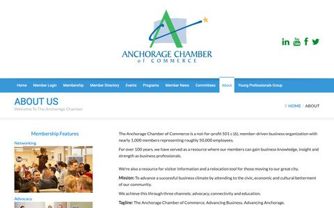 Screenshot of About Page anchoragechamber.org - About - The Anchorage Chamber of Commerce - captured Oct. 3, 2018