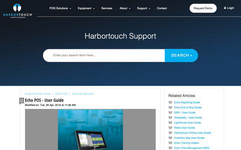 Screenshot of Support Page harbortouch.com - Echo POS - User Guide : Harbortouch Support Center - captured Oct. 9, 2018