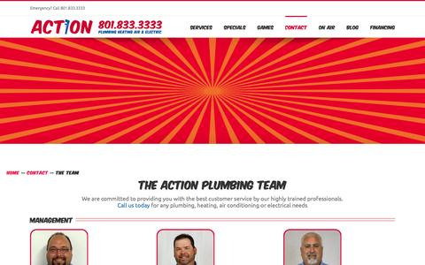 Screenshot of Team Page actionplumbing.net - The Plumbing Team | Action Plumbing - captured Feb. 5, 2016