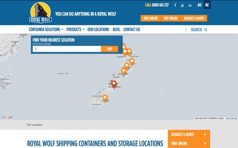 Screenshot of Locations Page royalwolf.co.nz - Shipping Containers New Zealand | Royal Wolf New Zealand - captured March 16, 2016