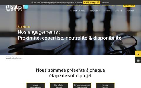 Screenshot of Services Page alsatis-entreprises.com - services et solutions télécoms adaptés à toutes les entreprises - captured Aug. 20, 2019