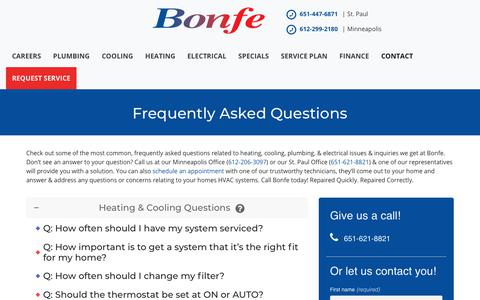 Screenshot of FAQ Page bonfe.com - Frequently Asked Questions | Bonfe® Minneapolis & St. Paul Metro Area - captured Dec. 8, 2019
