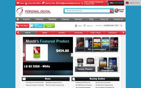 Screenshot of Home Page Contact Page Signup Page personaldigital.com.au - Buy Cheap Outright Mobile Phones, Seniors Phones, Cameras, Tablets & Accessories, Personal Digital - Australia - captured Sept. 23, 2014