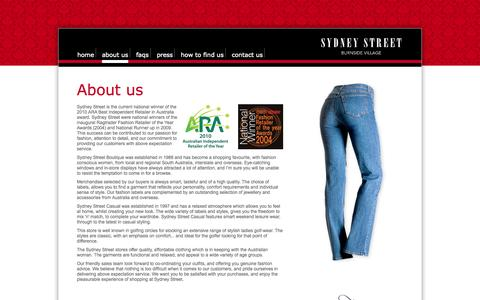 Screenshot of About Page sydneystreet.com.au - Sydney Street - Not Your Daughter's Jeans® - About us - captured Oct. 7, 2014