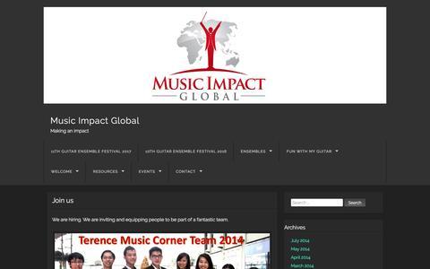 Screenshot of Jobs Page terencechoo.com - Join us | Music Impact Global - captured Dec. 2, 2016