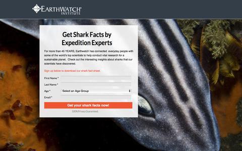 Screenshot of Landing Page earthwatch.org captured April 9, 2018