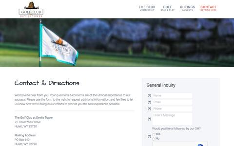 Screenshot of Contact Page Maps & Directions Page devilstowergolf.com - The Golf Club at Devils Tower | Hulett, WY | Private Course - Contact & Directions - captured June 30, 2018