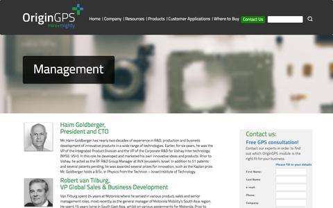 Screenshot of Team Page origingps.com - Management | OriginGPS - captured Dec. 6, 2016