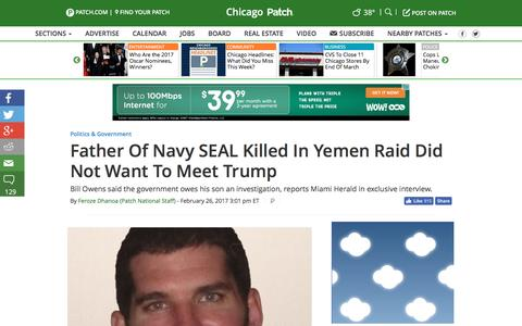Screenshot of patch.com - Father Of Navy SEAL Killed In Yemen Raid Did Not Want To Meet Trump - Chicago, IL Patch - captured Feb. 27, 2017