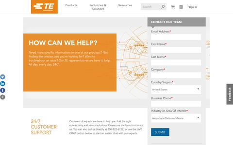 Screenshot of Support Page te.com - Contact TE Connectivity Product Experts   TE Connectivity - captured May 2, 2018