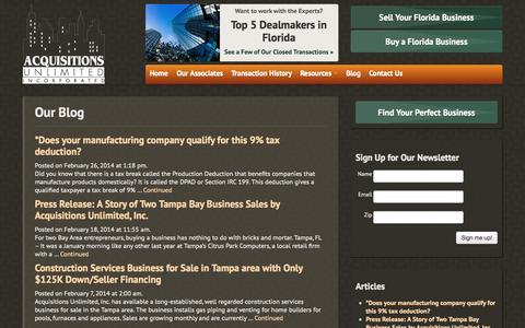 Screenshot of Blog acquisitions-unlimited.com - Our Blog | Acquisitions Unlimited, Inc.Acquisitions Unlimited, Inc. - captured Oct. 4, 2014