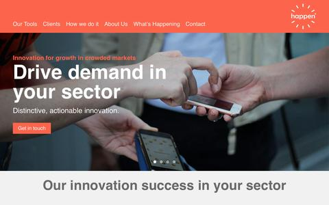 Screenshot of Home Page happen.com - Happen - Global Innovation Consultancy - captured Sept. 27, 2018