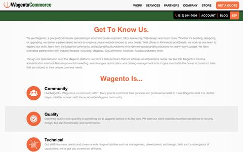 Screenshot of About Page wagento.com - Custom Magento Programming About Us - captured Aug. 27, 2016