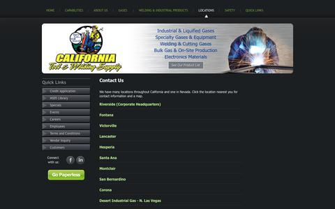 Screenshot of Locations Page cal-tool.com - Contact Us | California Tool & Welding Supply - captured Sept. 26, 2018